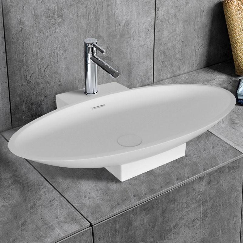 Lavabo-Vasque Ovale de Dessus de Comptoir en Pierre de Synthèse Blanche (DK-HB9032)