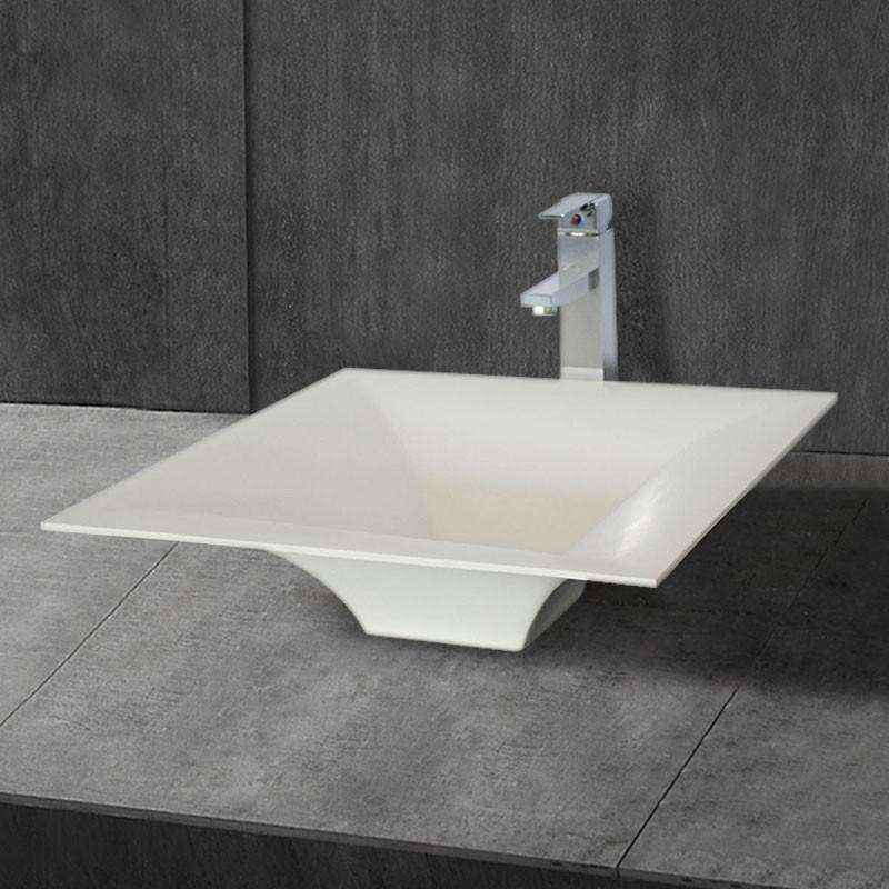 Lavabo-Vasque de Dessus de Comptoir en Pierre de Synthèse Blanche (DK-HB9036)