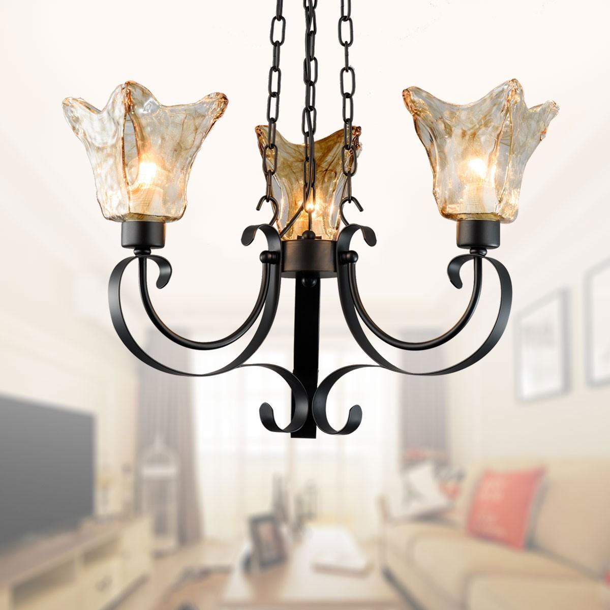 lustre en fer forg avec abat jour en verre 3 ampoules noir dk 8038 3 decoraport canada. Black Bedroom Furniture Sets. Home Design Ideas