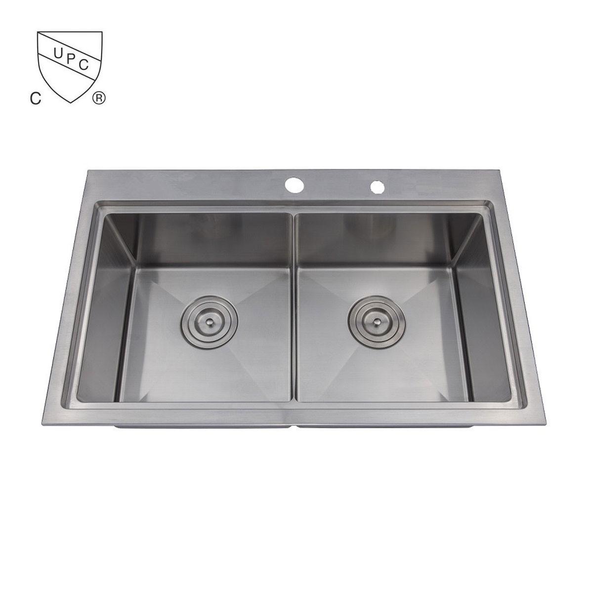 Evier de cuisine double l 39 angle arrondi en acier for Evier cuisine solde