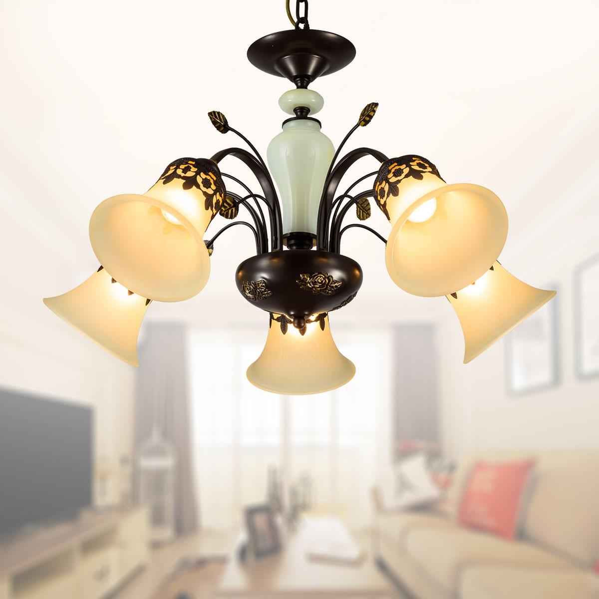 lustre en fer forg avec abat jour en verre 5 ampoules noir dk 1029 5 decoraport canada. Black Bedroom Furniture Sets. Home Design Ideas