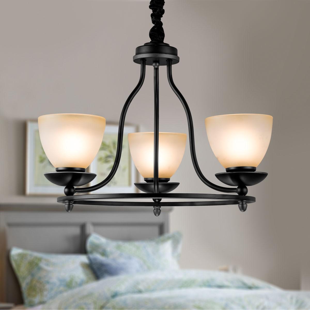 lustre en fer forg avec abat jour en verre 3 ampoules noir dk 2037 3 decoraport canada. Black Bedroom Furniture Sets. Home Design Ideas