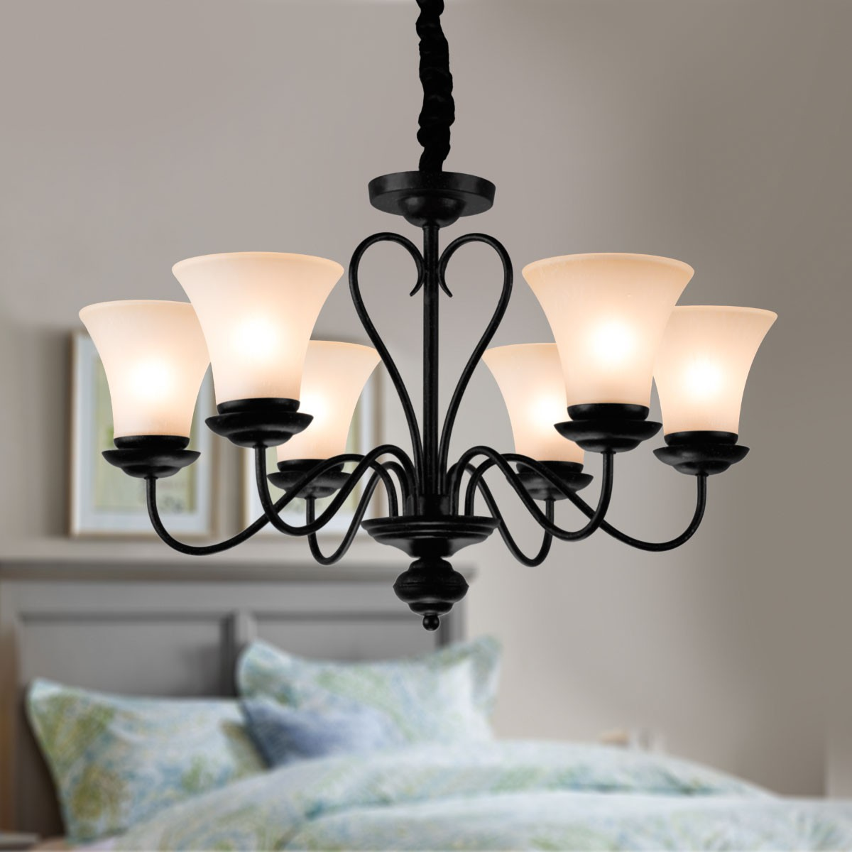 lustre en fer forg avec abat jour en verre 6 ampoules noir dk 2039 6 decoraport canada. Black Bedroom Furniture Sets. Home Design Ideas