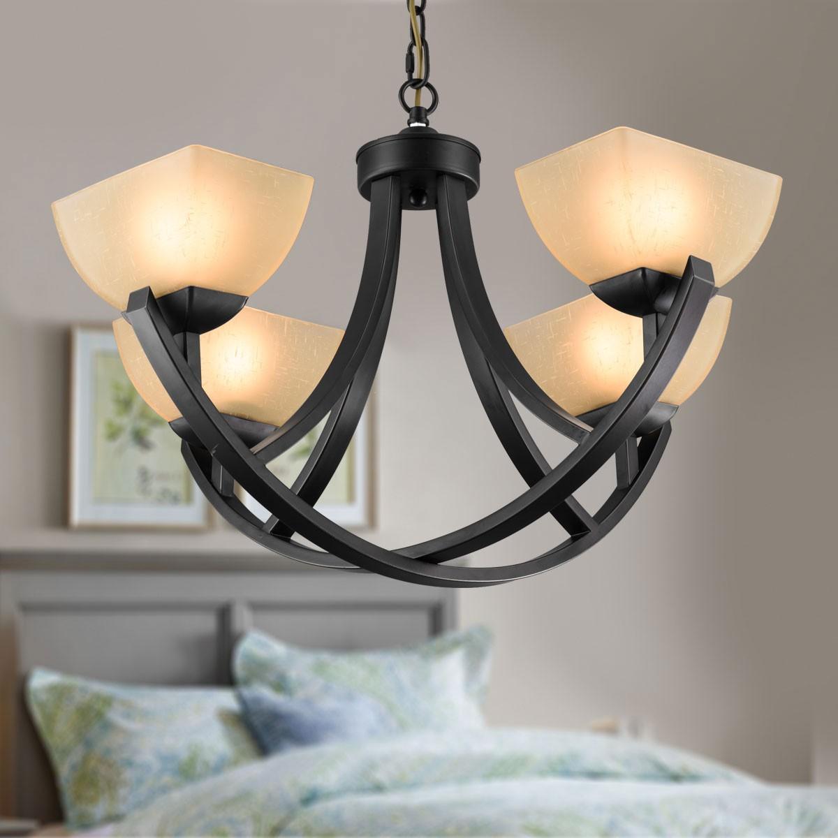 lustre en fer forg avec abat jour en verre 4 ampoules noir dk 8016 4 decoraport canada. Black Bedroom Furniture Sets. Home Design Ideas
