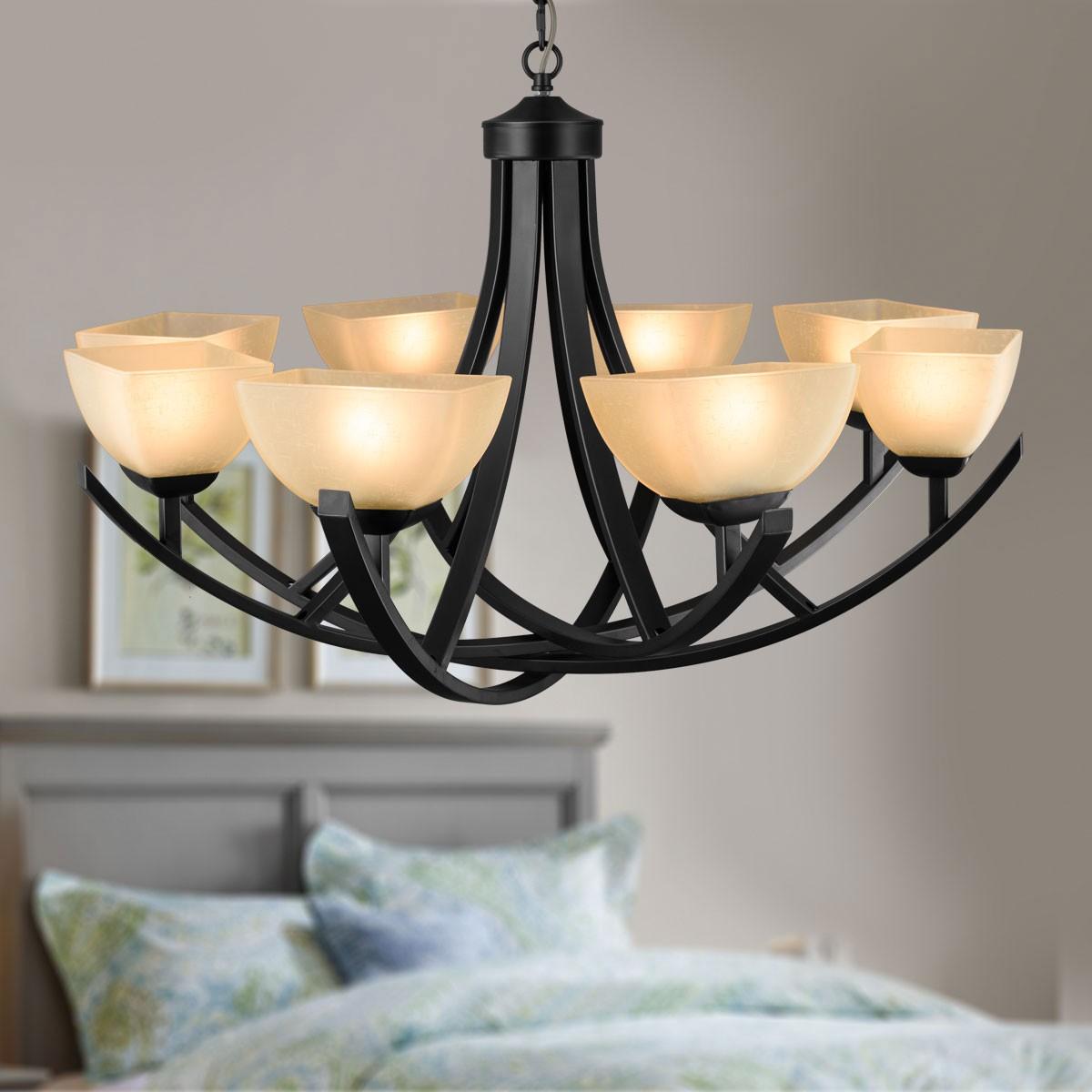 lustre en fer forg avec abat jour en verre 8 ampoules noir dk 8016 8 decoraport canada. Black Bedroom Furniture Sets. Home Design Ideas