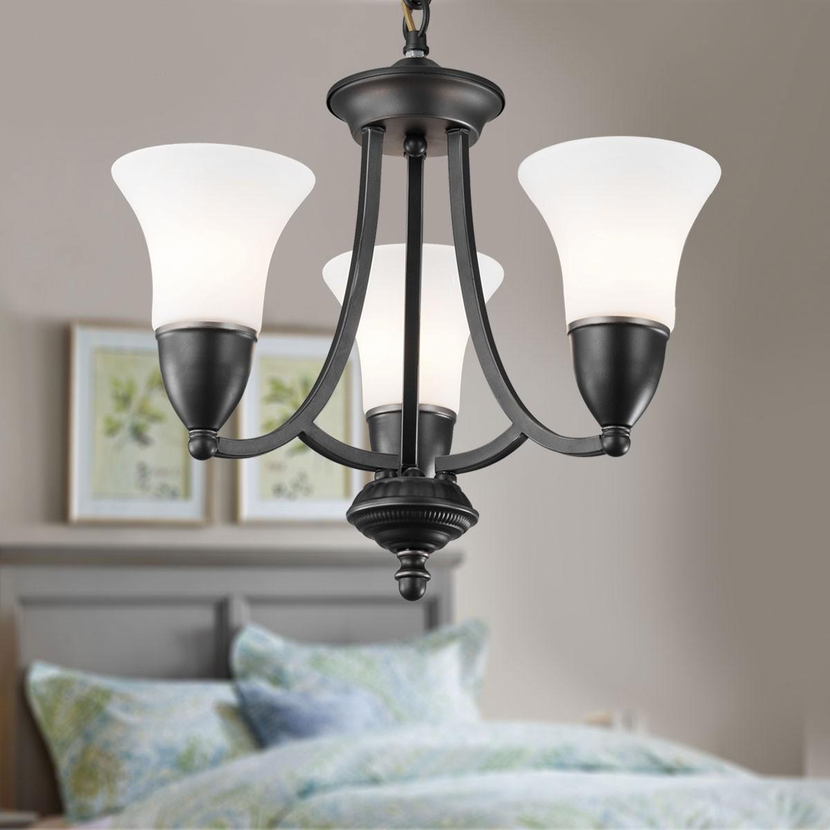 lustre en fer forg avec abat jour en verre 3 ampoules noir dk 8037 3 decoraport canada. Black Bedroom Furniture Sets. Home Design Ideas