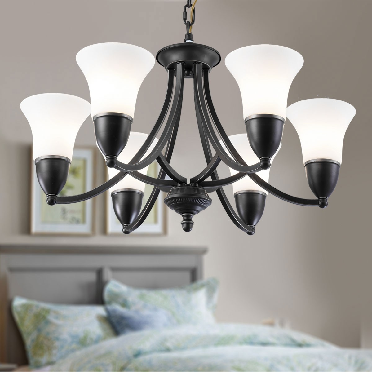 lustre en fer forg avec abat jour en verre 6 ampoules noir dk 8037 6 decoraport canada. Black Bedroom Furniture Sets. Home Design Ideas