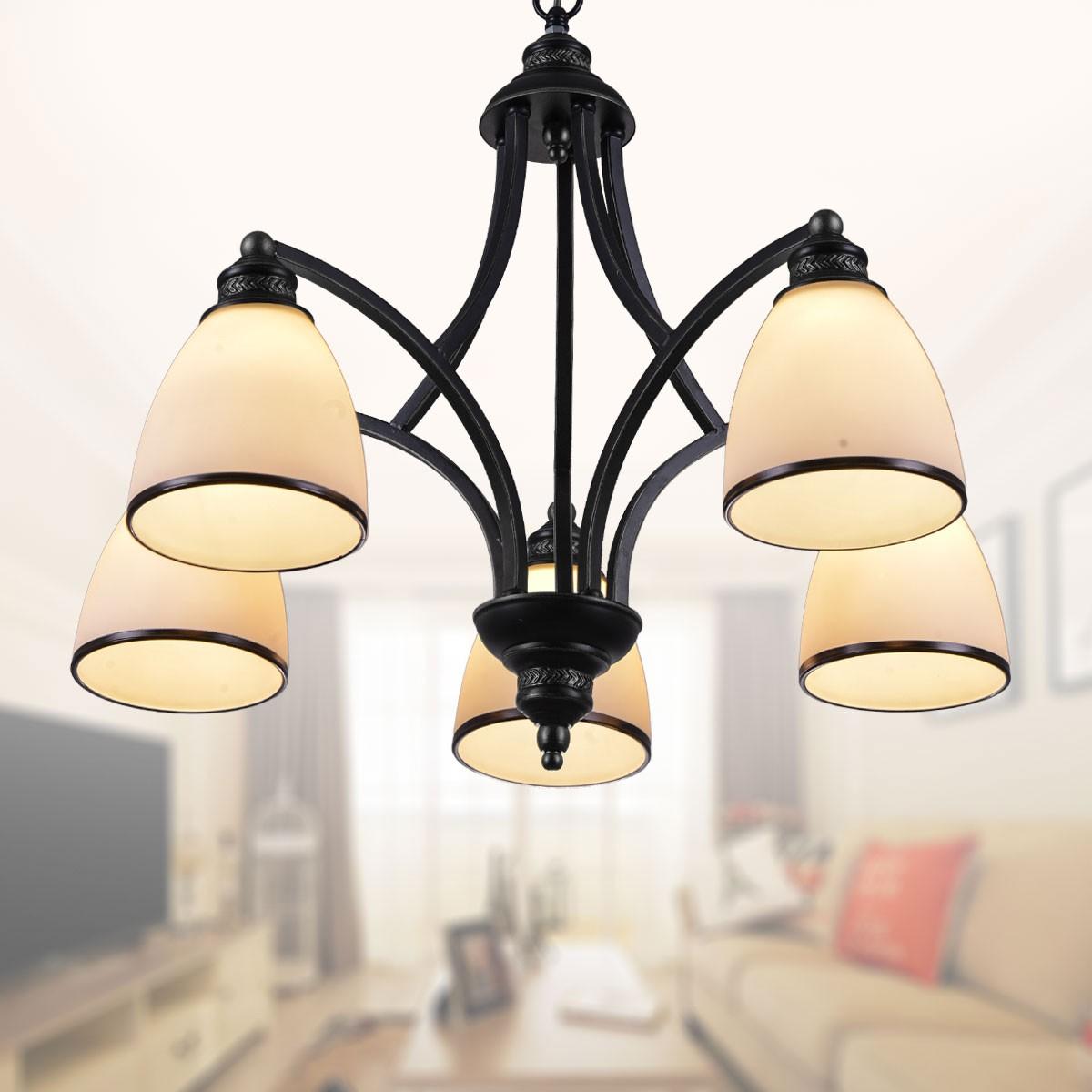 lustre en fer forg avec abat jour en verre 5 ampoules noir dk 5308 5x decoraport canada. Black Bedroom Furniture Sets. Home Design Ideas