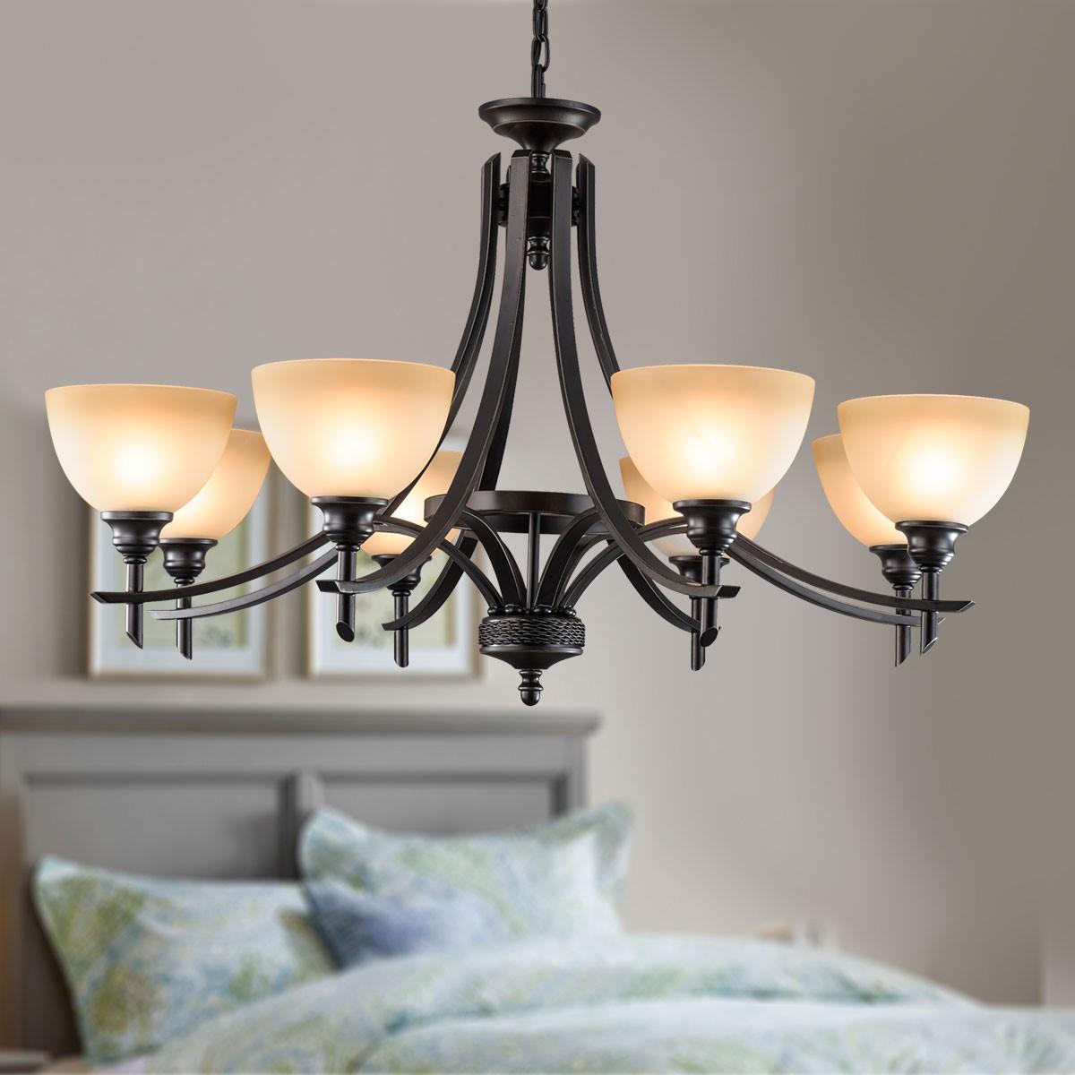 lustre en fer forg avec abat jour en verre 8 ampoules noir dk 8034 8 decoraport canada. Black Bedroom Furniture Sets. Home Design Ideas