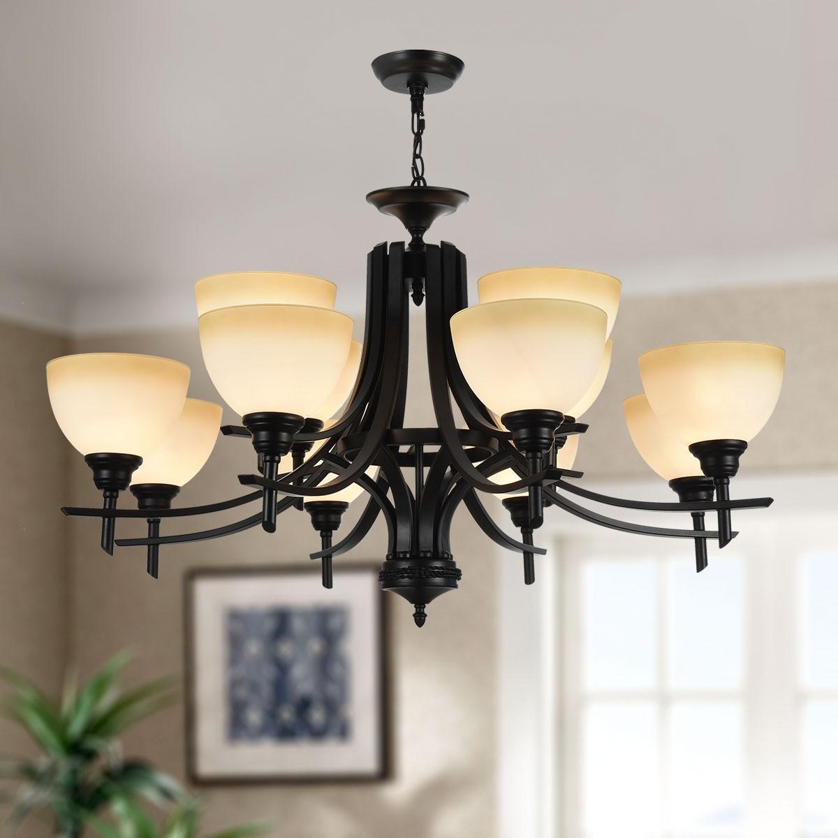 lustre en fer forg avec abat jour en verre 12 ampoules noir dk 8034 8 4 decoraport canada. Black Bedroom Furniture Sets. Home Design Ideas