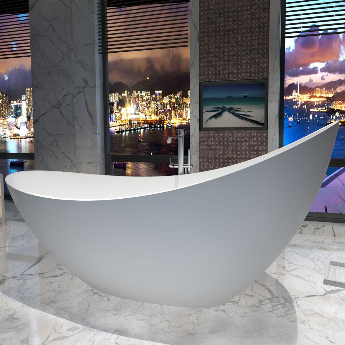 74 po baignoire autoportante en pierre de synth se blanc. Black Bedroom Furniture Sets. Home Design Ideas