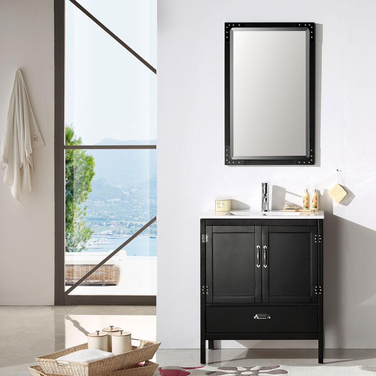 30 po Meuble Salle de Bain/Vanité Sur Pieds à Lavabo Simple avec Miroir (DK-5730-B)