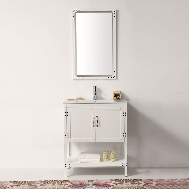30 po Meuble Salle de Bain/Vanité Sur Pieds à Lavabo Simple (DK-5930-W)