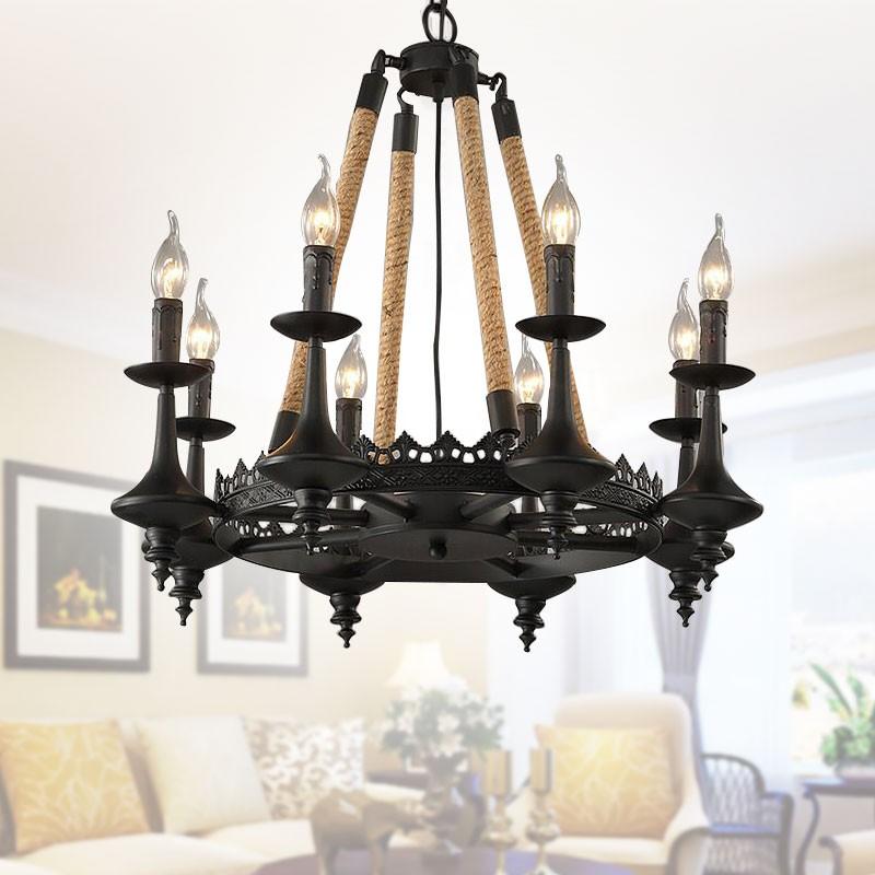bougie forme lustre en chanvre corde et fer avec 8 lumi res 8809 d8 decoraport canada. Black Bedroom Furniture Sets. Home Design Ideas