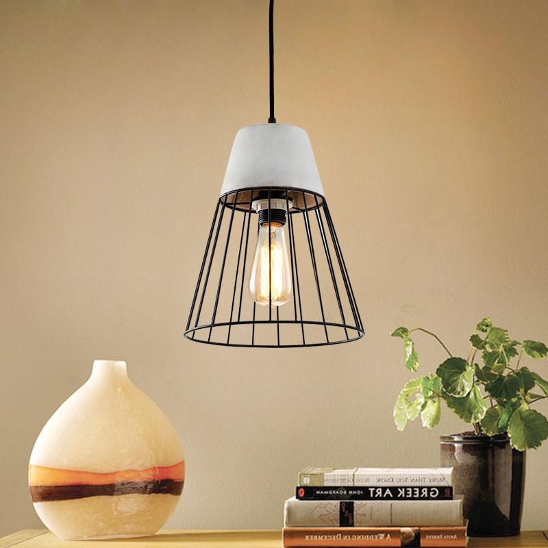 suspension cage en fer ciment hkp31357 1 decoraport canada. Black Bedroom Furniture Sets. Home Design Ideas