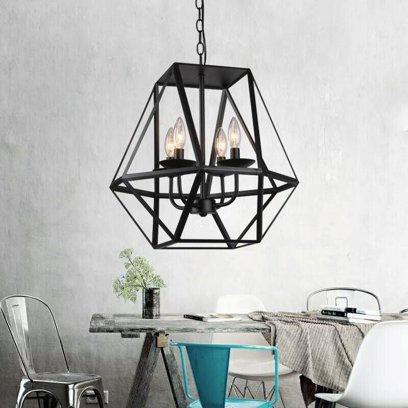 suspension cage en fer avec 4 lumi res 1637 4 decoraport canada. Black Bedroom Furniture Sets. Home Design Ideas