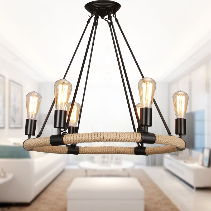 bougie forme lustre en chanvre corde et fer avec 6 lumi res 8801 d6 decoraport canada. Black Bedroom Furniture Sets. Home Design Ideas