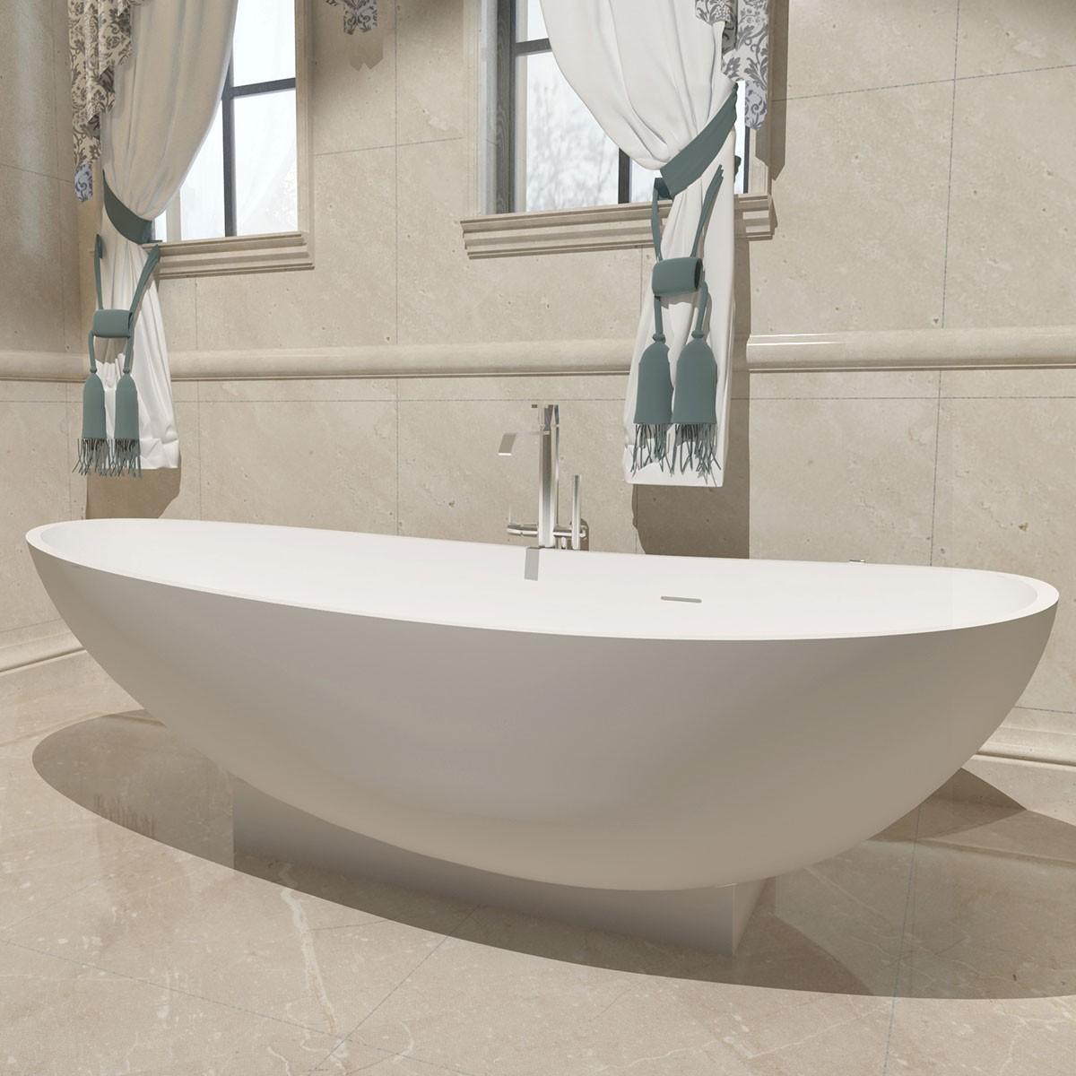 71 po baignoire autoportante en pierre de synth se blanc. Black Bedroom Furniture Sets. Home Design Ideas