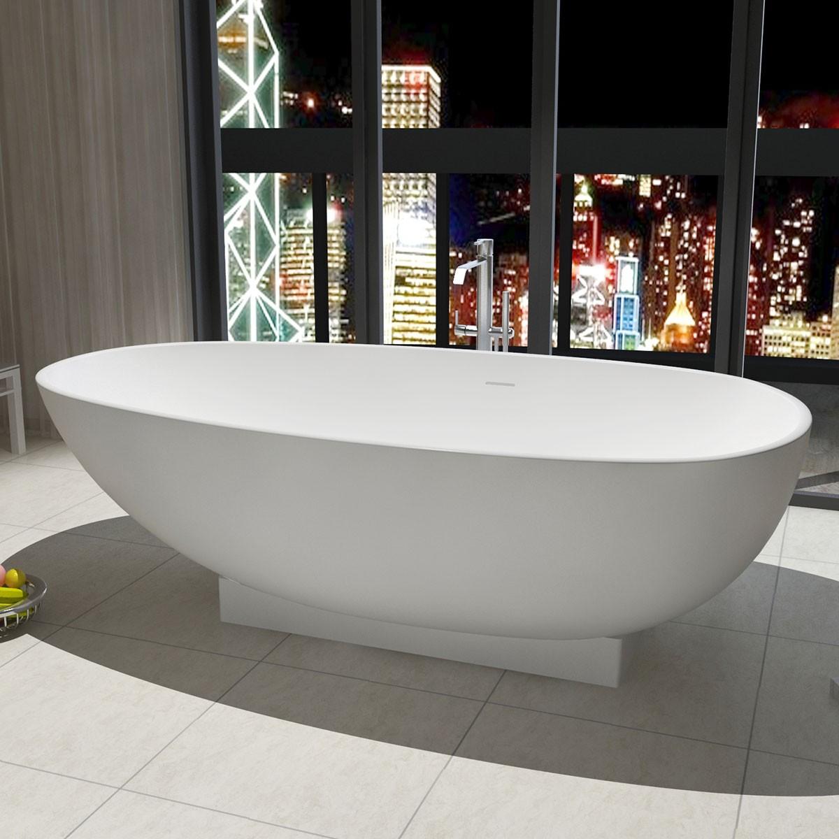 71 po baignoire autoportante en pierre de synth se blanc mat dk ha8616 decoraport canada. Black Bedroom Furniture Sets. Home Design Ideas