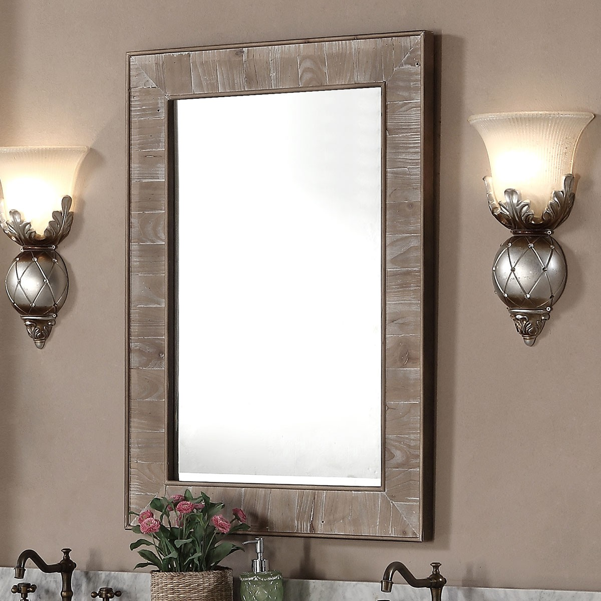 26 x 36 po miroir pour vanit avec cadre en bois de sapin