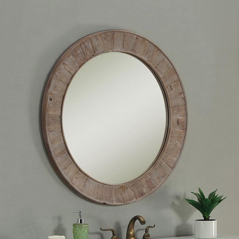 28 x 28 po Miroir Rond pour Vanité avec Cadre en Bois de Sapin (DK-WK2911-SW)