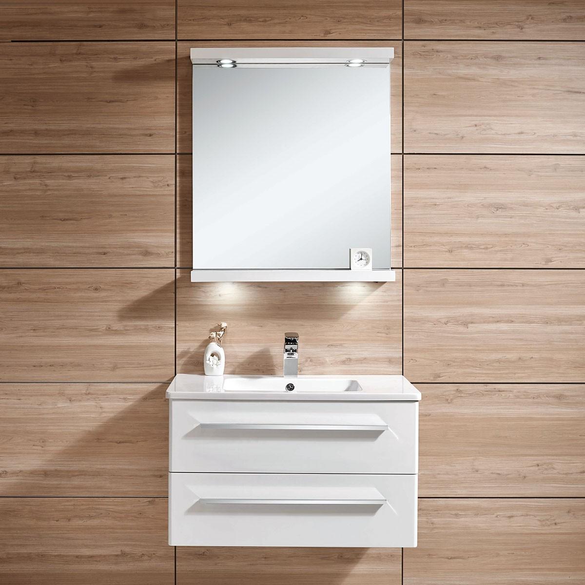 31 po Meuble Salle de Bain Suspendu au Mur à Lavabo Simple avec Miroir et Lampe (DK-606800-SET)