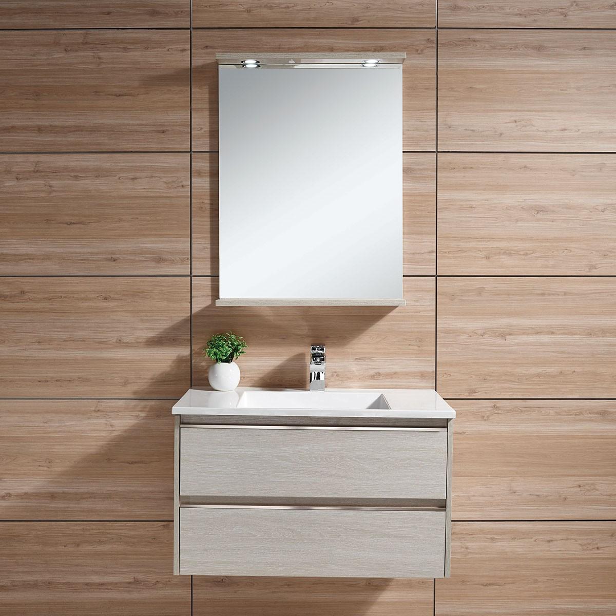 31 po Meuble Salle de Bain Suspendu au Mur à Lavabo Simple avec Miroir et Lampe (DK-603800-SET)