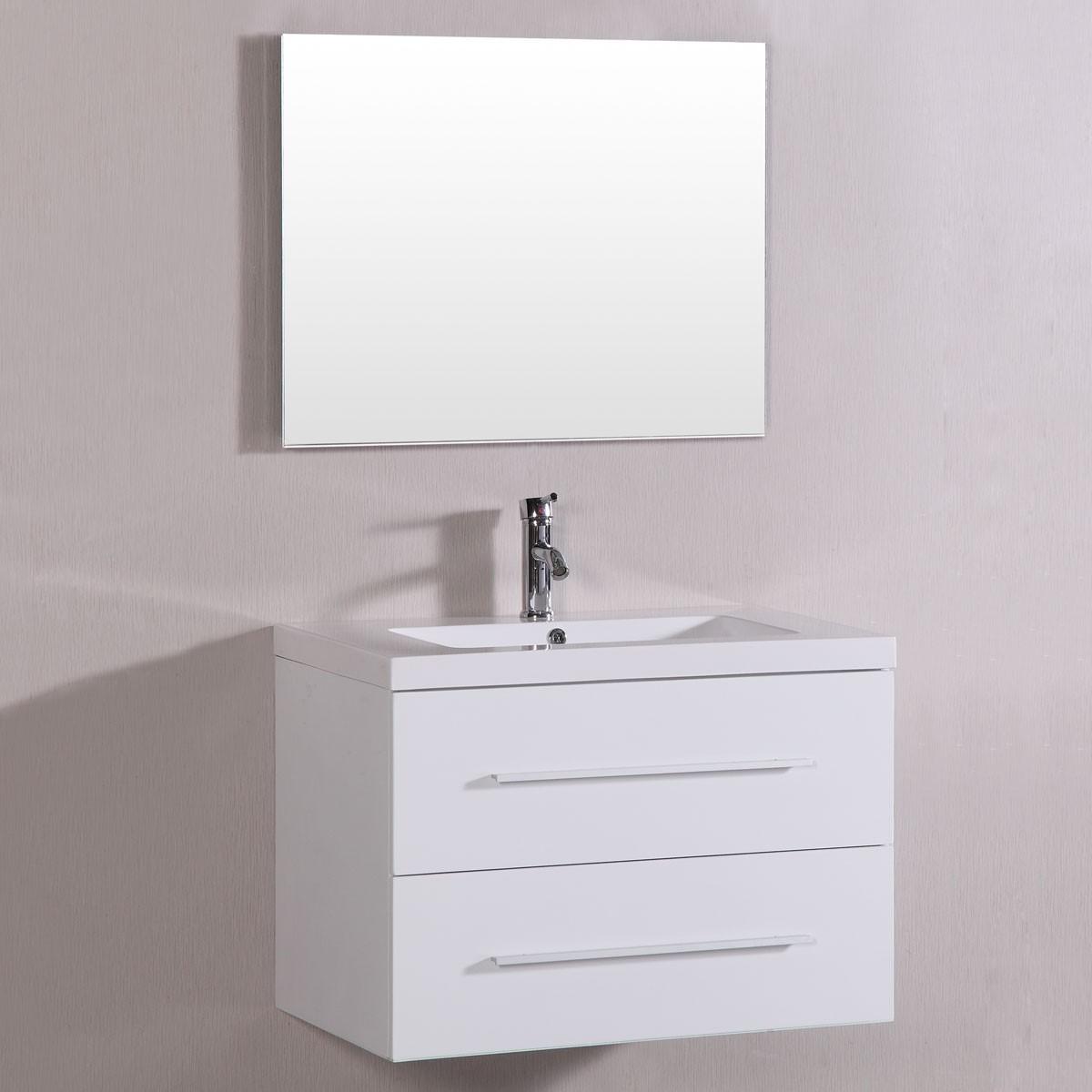 40 po Meuble Salle de Bain Suspendu au Mur à Lavabo Simple avec Miroir (DK-TM8120S-SET)