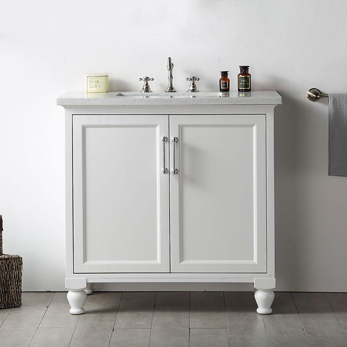 36 po meuble salle de bain sur pieds lavabo simple dk 6536 w decoraport canada. Black Bedroom Furniture Sets. Home Design Ideas