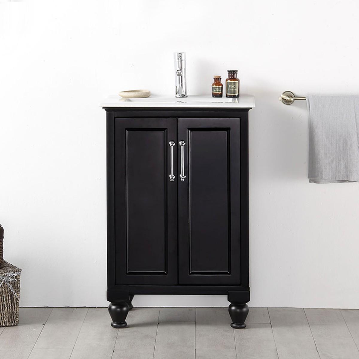 24 po Meuble Salle de Bain Vanité Sur Pieds  Lavabo Simple DK 6524