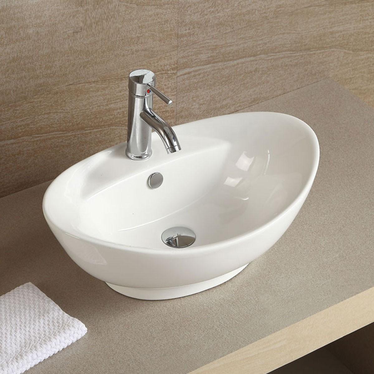 Lavabo Salle De Bain Ovale ~ lavabo vasque ovale de dessus de comptoir en c ramique blanche cl