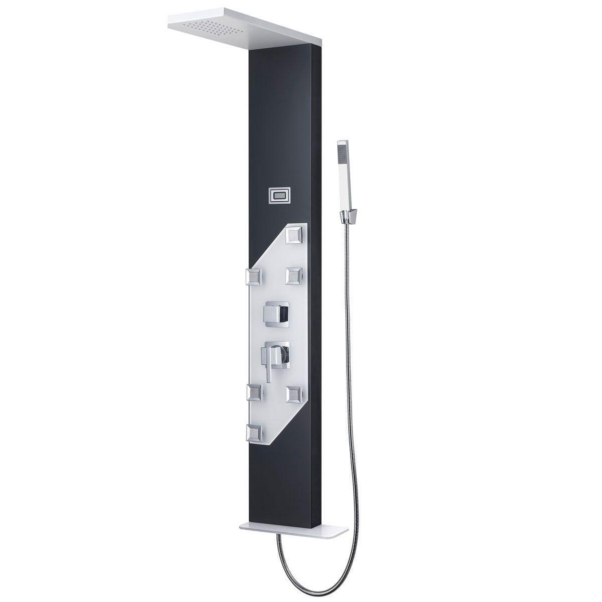 Panneau de douche thermostatique en alliage d'aluminium blanc et noire (JX-9757)