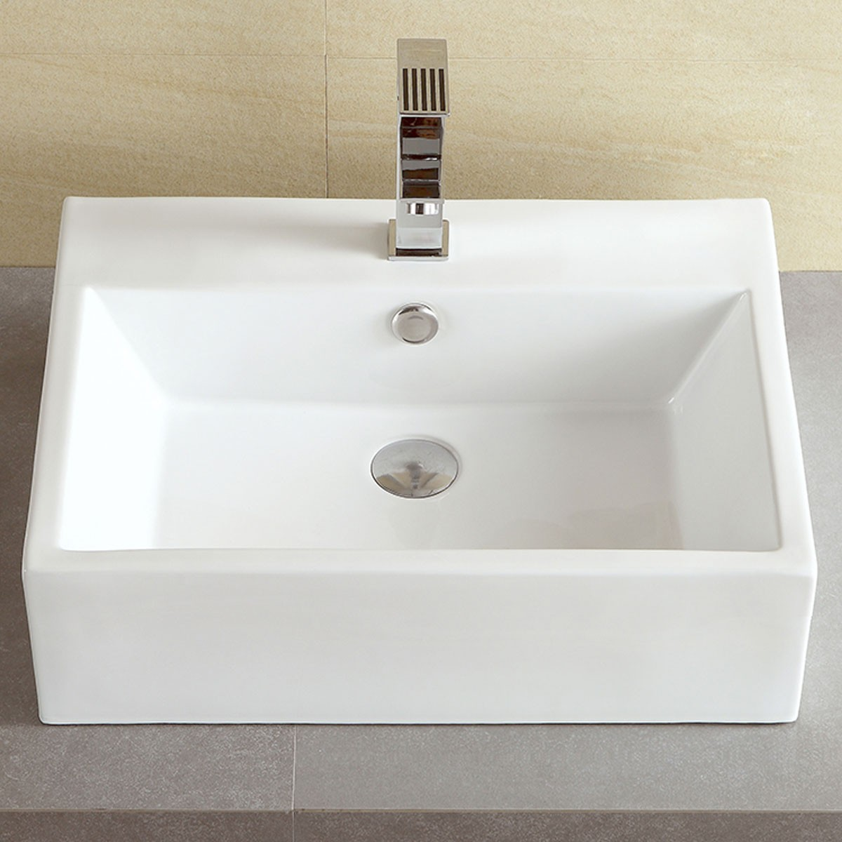 Decoraport Lavabo-Vasque Rectangle de Dessus de Comptoir en Céramique Blanche (CL-1094)