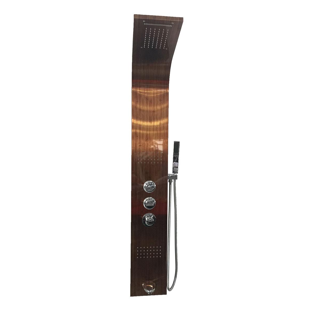 Panneau de douche thermostatique en acier inoxydable de couleur de cuivre de bambou (LYB-5533-ZM)