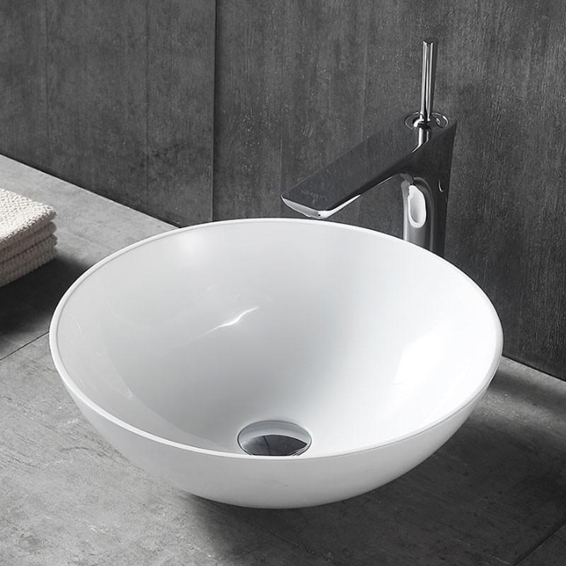 Lavabo Rond Blanc Mat de Dessus du Comptoir (CL-1344YD)