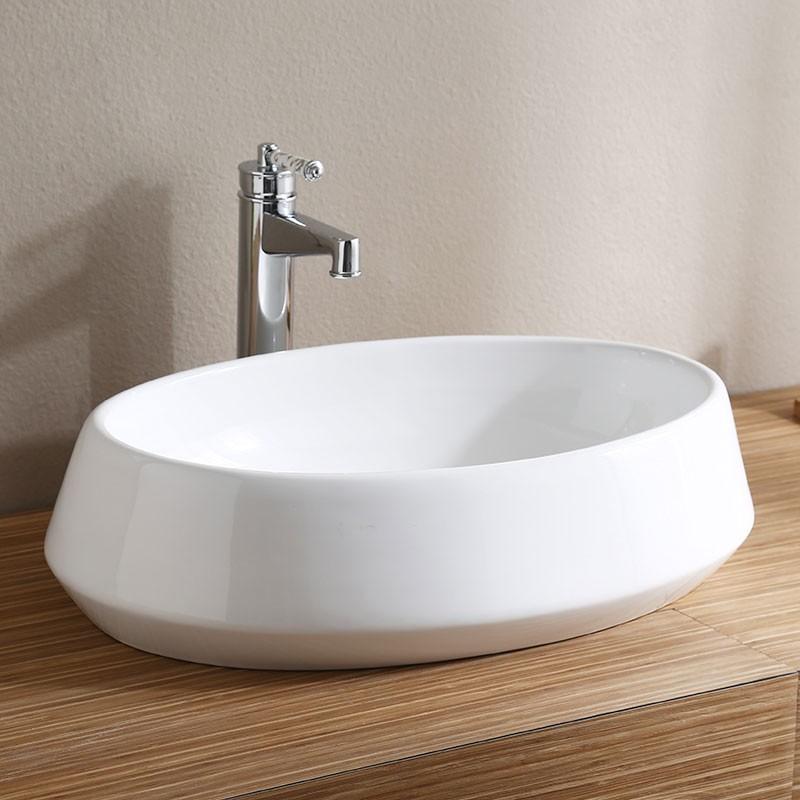 Lavabo Oval Blanc en Céramique de Dessus du Comptoir (CL-1298)