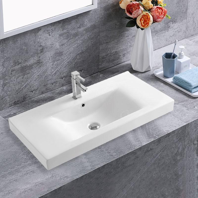 Lavabo Blanc de Dessus du Comptoir pour Vanité Salle de Bain (CL-4038-90)