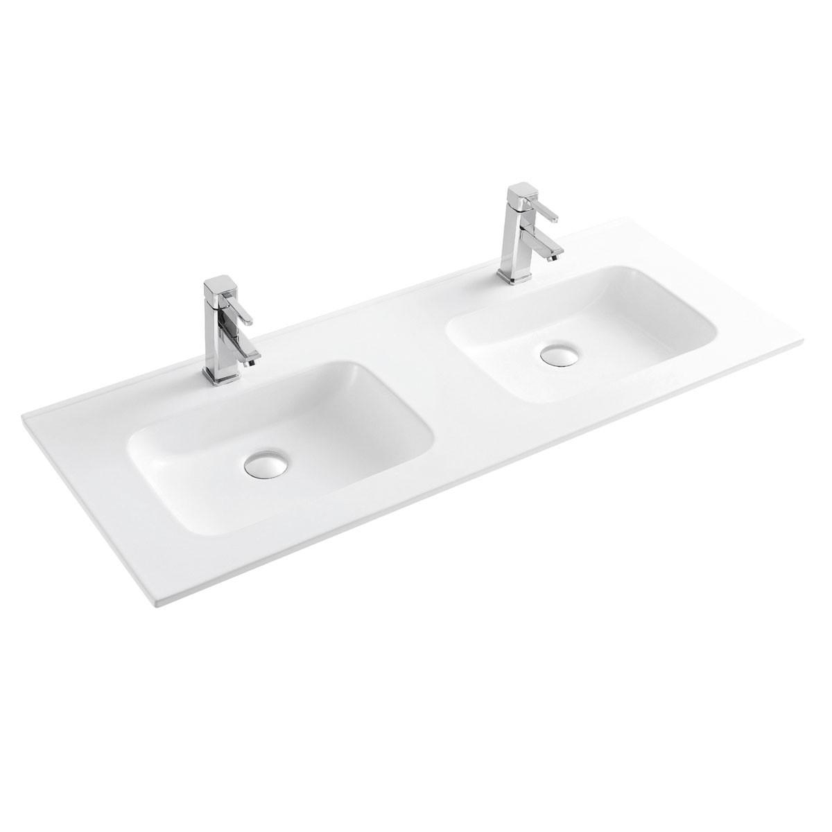 Double Lavabo Blanc pour Vanité Salle de Bain en Céramique (CL-4108D-120)
