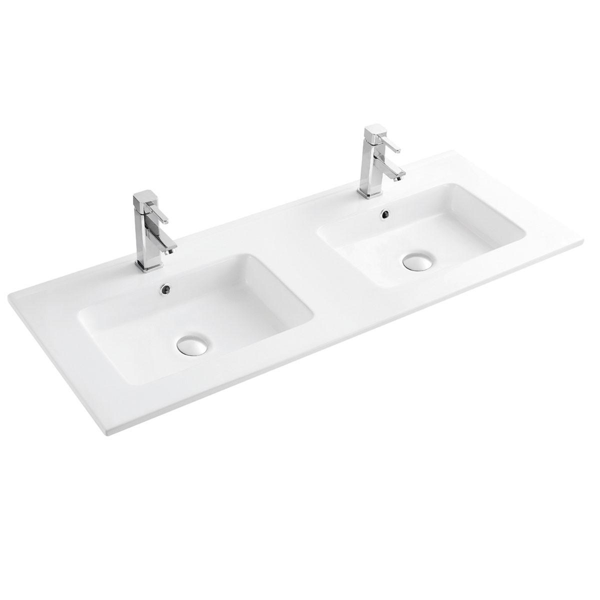 Double Lavabo Blanc pour Vanité Salle de Bain en Céramique (CL-4106D-120)