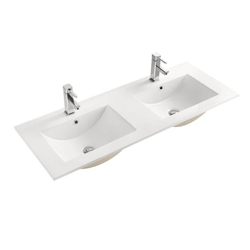 Double Lavabo Blanc pour Vanité Salle de Bain en Céramique (CL-4001D-120)