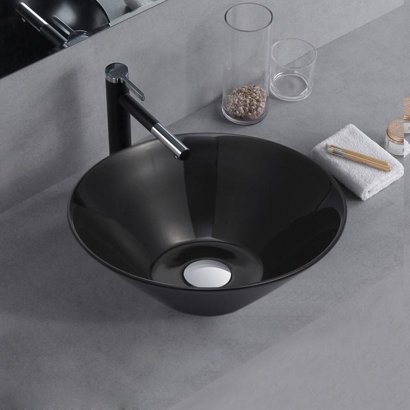 Lavabo Rond Noir en Céramique de Dessus du Comptoir (CL-1272-C2)