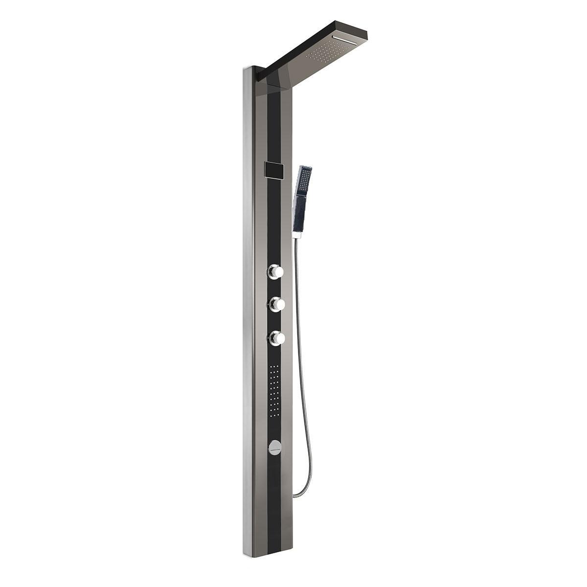 Panneau de douche thermostatique LED en acier inoxydable noir et brossé (LYB-5530-SH)