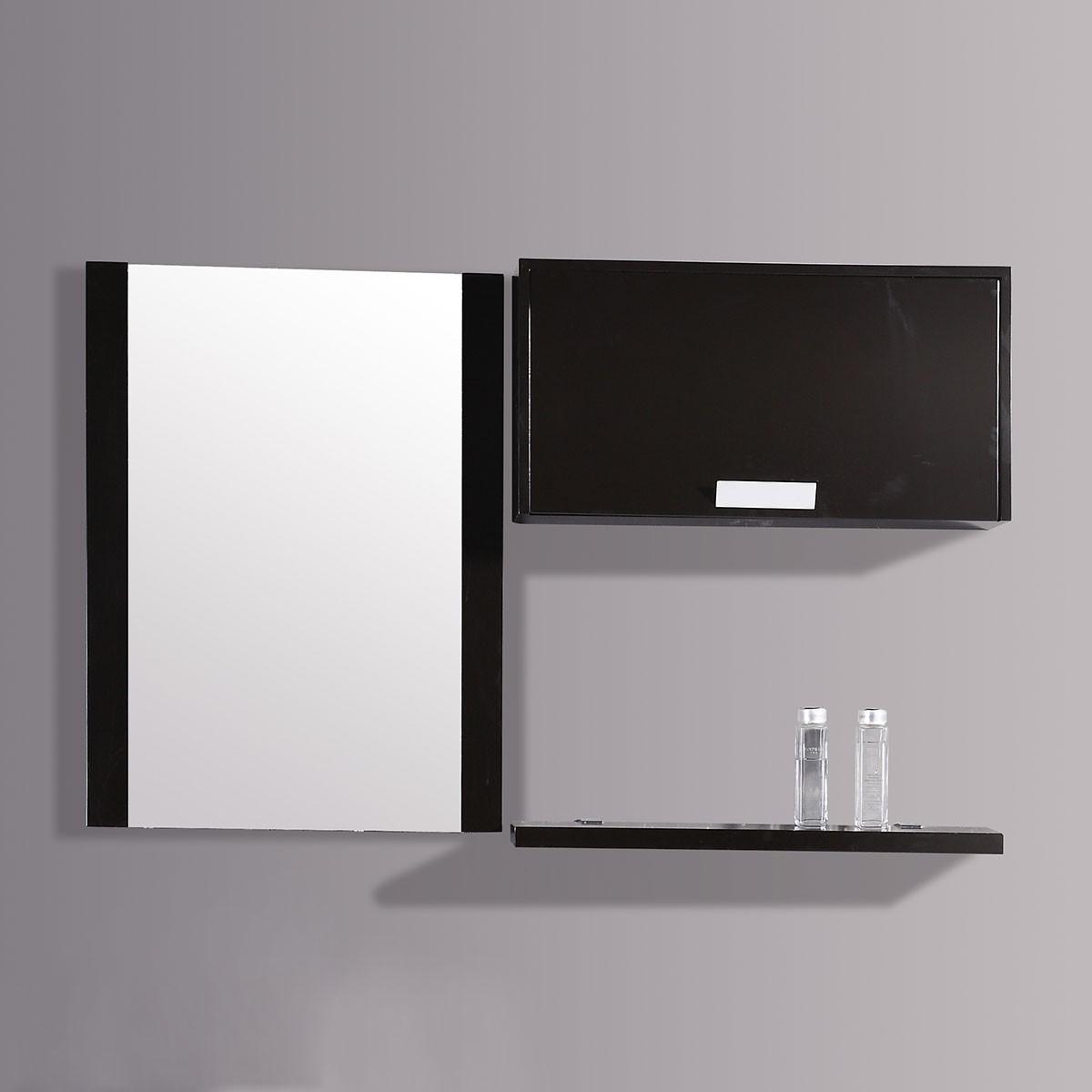 24 x 31 po Miroir avec étagère latérale espresso (DK-T9099B-M)