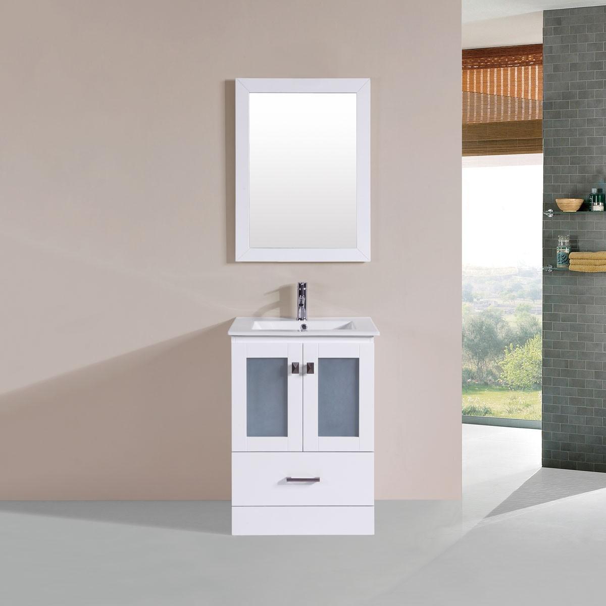 """Ensemble 3 pièces avec vanité 24"""", lavabo et miroir assorti (DK-T9312-24W-SET)"""