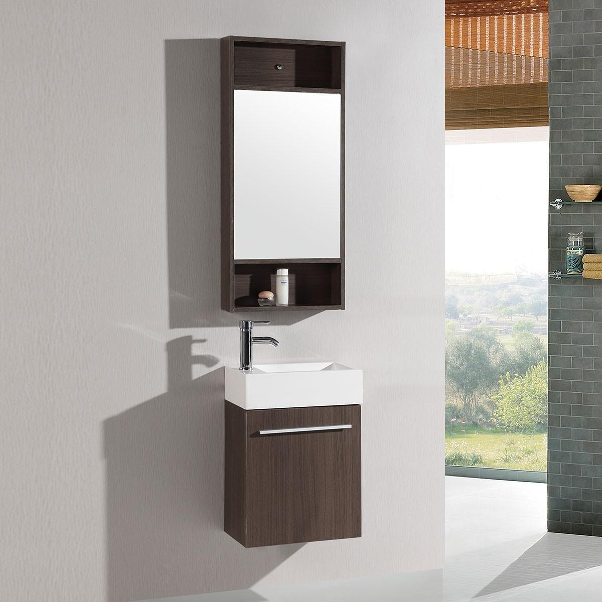 """Ensemble vanité 18"""" avec lavabo et miroir (DK-TH20160A-SET)"""