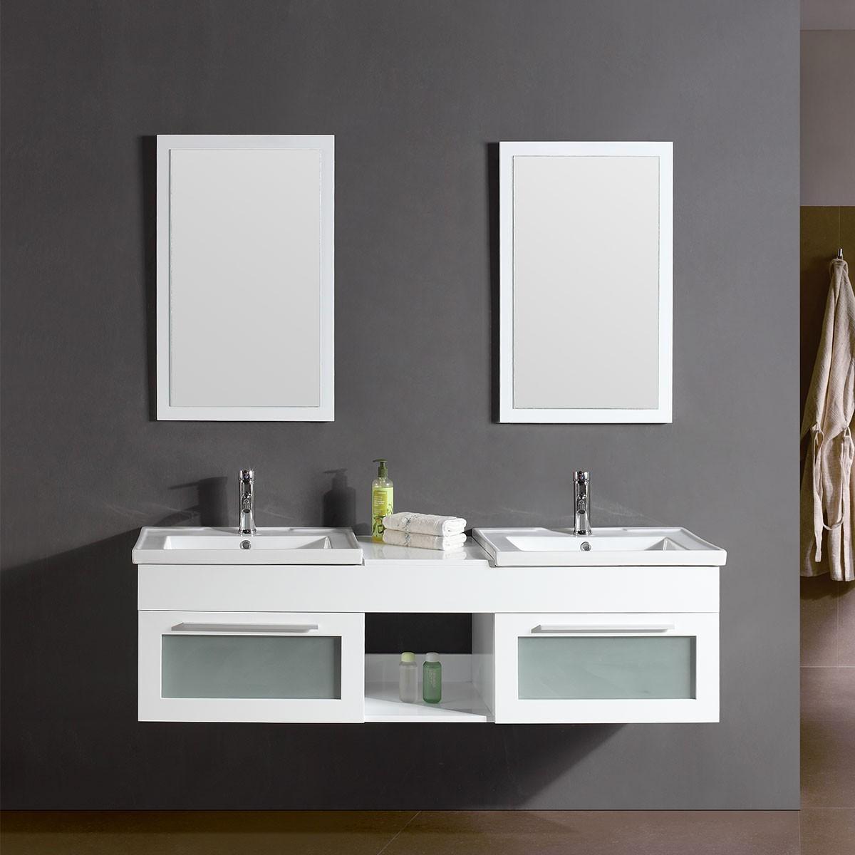 """Ensemble vanité 60"""" avec double lavabo assorti (DK-T9118-1-SET)"""