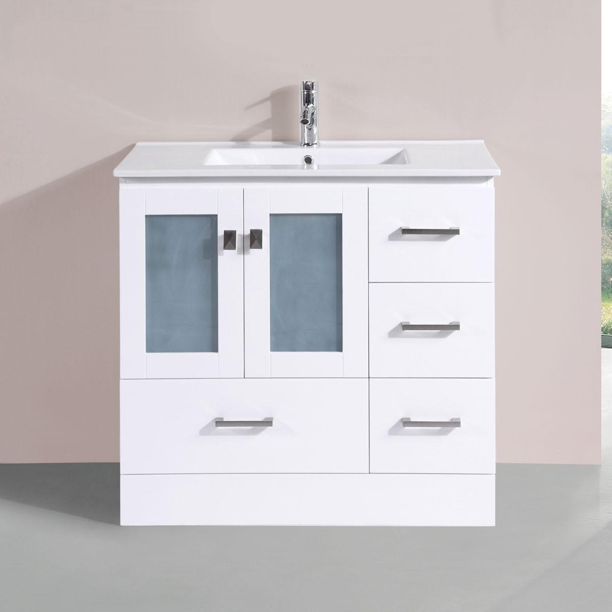 36 po Vanité en contreplaqué avec lavabo (DK-T9312-36WV)