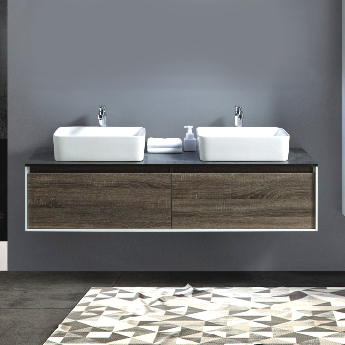 60 po Vanité suspendu au mur avec double lavabo (AG1500D-V)