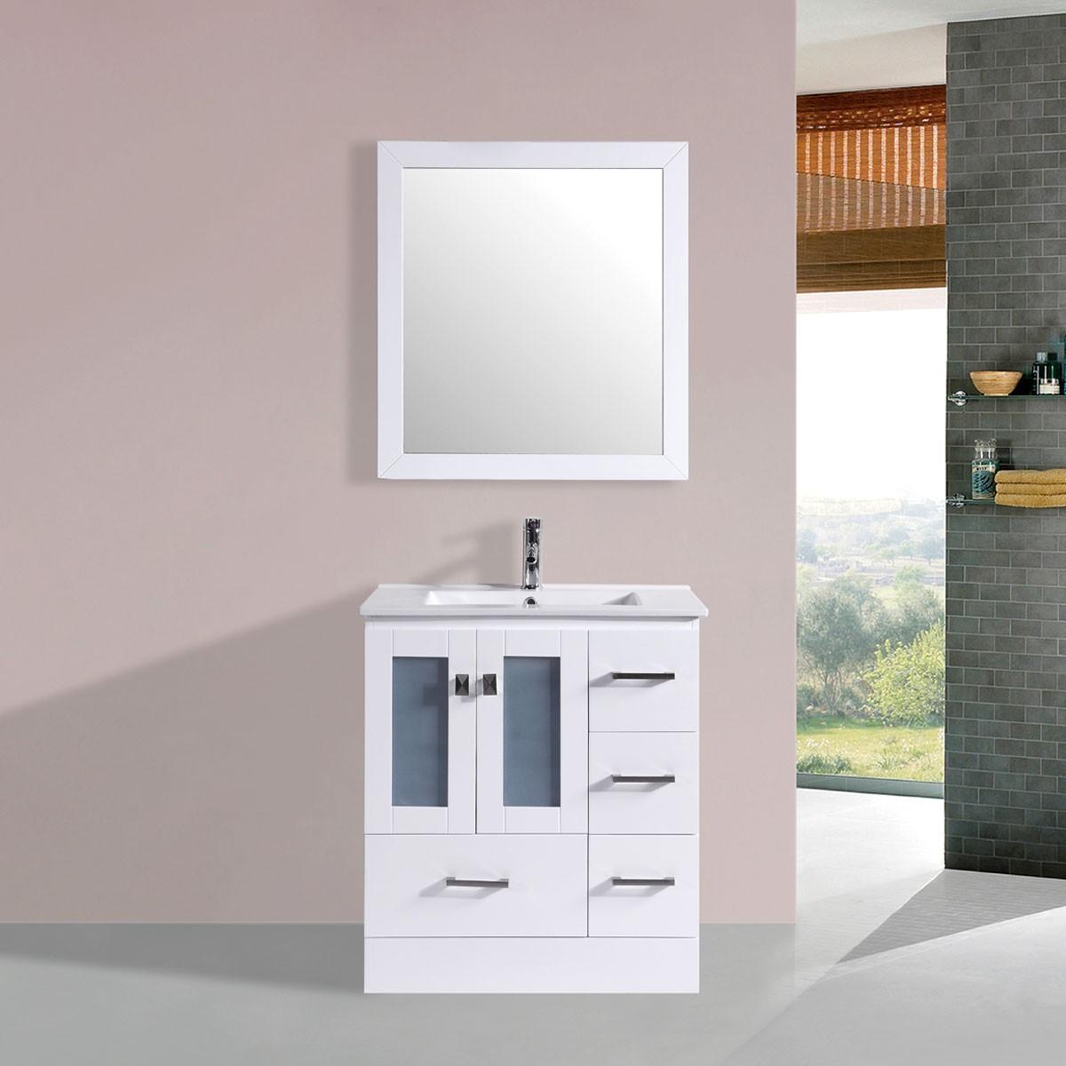 """Ensemble 3 pièces avec vanité 30"""" en contreplaqué, lavabo et miroir assorti (DK-T9312-30W-SET)"""