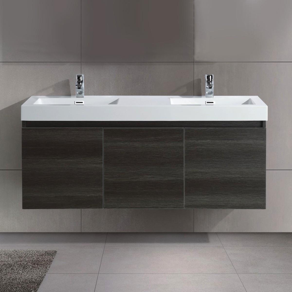 54 po Vanité suspendu au mur avec double lavabo (JD054-V)